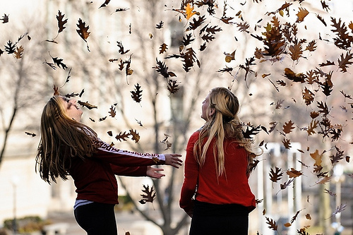 Photo: students playing in leaves