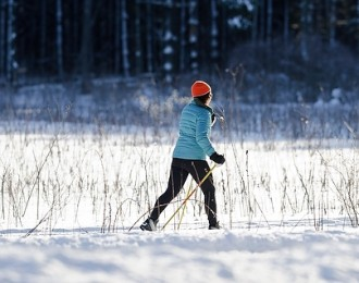 A woman enjoys cross-country skiing along a snow-covered trail through Curtis Prairie at the UW-Madison Arboretum at the University of Wisconsin-Madison during winter on Feb. 8, 2013. (Photo by Jeff Miller/UW-Madison)