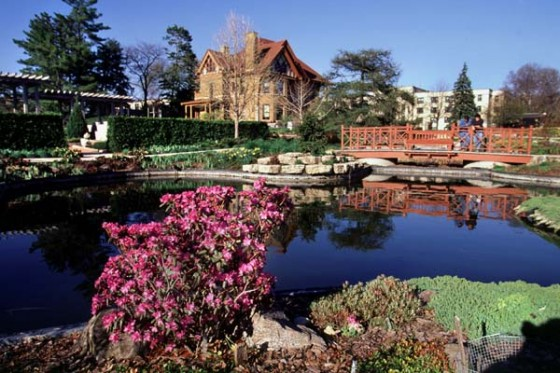 Allen Centennial Gardens fish pond and the historic Agricultural Dean's Residence house during spring. © UW-Madison News & Public Affairs  608/262-0067 Photo by:  Jeff Miller Date:  4/00     File#:  color slide