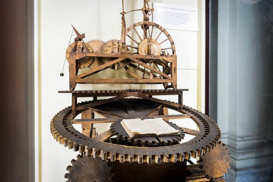 A combination alarm clock and study desk -- invented in the early 1860s and made of wood by University of Wisconsin student John Muir -- is on display at the Wisconsin Historical Society. Muir is considered the grandfather of American environmentalism.