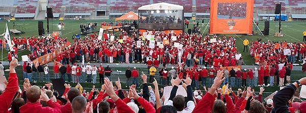 On Oct. 16, 2010, students and members of the Madison community get up early to be apart of a live broadcast of the ESPN Channel's show College Gameday at Camp Randall Stadium at the University of Wisconsin-Madison. Later on this evening, the Badgers will host the number one ranked Ohio State Buckeyes. (Photo by Bryce Richter / UW-Madison)
