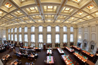 A favorite place for University of Wisconsin-Madison students to study, the Wisconsin Historical Society library reading room is pictured in a fisheye lens-view on April 12, 2010, following an extensive $2.1 million renovation. During the past year, the library space was restored to much of its 1900s-era grandeur -- including re-gilded ornate ceiling details and use of period-style light fixtures -- and updated to meet contemporary electrical and communications needs. The University of Wisconsin contributed $230,000 to help furnish the room once construction was finished. ©UW-Madison University Communications 608/262-0067 Photo by: Jeff Miller Date:  04/10    File#:  NIKON D3 digital frame 87