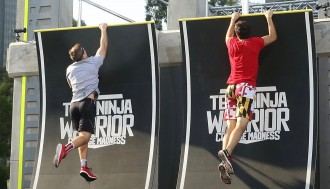 UW's Andrew Philibeck tackles a ramp during the race against Maryland. Photo courtesy Esquire Network.
