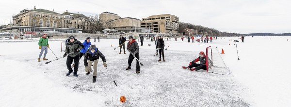 Dozens of UW students take part in the broomball tournament during the Hoofers Winter Carnival on Feb. 4, 2017. (Photo by Bryce Richter / UW-Madison)