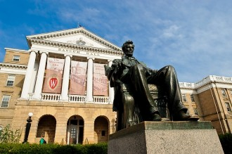 A statue of Abraham Lincoln sits in front of Bascom Hall atop Bascom Hill at the University of Wisconsin-Madison on July 25, 2012. (Photo by: Bryce Richter / University of Wisconsin-Madison)
